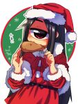 1girl black_hair blush chicken_leg christmas cyclops dated dress eating fur-trimmed_headwear hat highres long_hair looking_at_viewer motion_lines muku-chan_(muroku) muroku_(aimichiyo0526) one-eyed original red_dress red_eyes red_headwear santa_costume santa_hat signature solo x_x