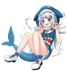 1girl :d animal_hood bangs blue_eyes blue_hoodie blue_nails blunt_bangs blush claw_pose convenient_leg cross-laced_clothes eyebrows_visible_through_hair fish_bone fish_tail flat_chest floating full_body gao gawr_gura gradient_clothes highres hololive hololive_english hood hood_up hoodie knees_up long_hair looking_ahead multicolored_hair nail_polish open_mouth sasha_chii shark_hood shark_tail sharp_teeth short_sleeves silver_hair simple_background sitting smile solo splashing streaked_hair tail teeth v-shaped_eyebrows virtual_youtuber water white_background white_footwear wide_sleeves