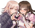 2girls :d apron bandaged_arm bandages bangs black_jacket black_shirt breasts brown_eyes brown_hair commentary_request danganronpa_(series) danganronpa_2:_goodbye_despair grey_background heart heart_hands heart_hands_duo hood hooded_jacket jacket kayada_(kyd_kxh) large_breasts light_brown_hair long_sleeves looking_at_viewer medium_breasts medium_hair mole mole_under_eye multiple_girls nanami_chiaki open_clothes open_jacket open_mouth pink_shirt puffy_short_sleeves puffy_sleeves shiny shiny_hair shirt short_sleeves simple_background smile tsumiki_mikan upper_body upper_teeth white_shirt