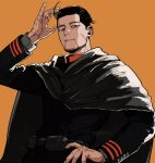arm_up belt black_eyes black_hair black_jacket brown_background buttons cape collared_jacket commentary_request facial_hair golden_kamuy grey_cape hair_slicked_back hair_strand hand_in_hair hand_on_hip highres hood hood_down hooded_cape imperial_japanese_army jacket long_sleeves looking_at_viewer male_focus military military_uniform ogata_hyakunosuke parted_lips pouch scar scar_on_cheek scar_on_face short_hair simple_background smile solo standing stubble tonta_(tonta1231) undercut uniform upper_body