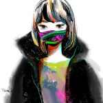 1girl bangs black_jacket grey_eyes grey_shirt highres jacket looking_at_viewer mask mouth_mask multicolored_shirt original print_mask procreate_(medium) shirt short_hair signature simple_background solo tomidoron white_background