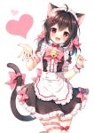 1girl :d ahoge animal_ears apron bangs bell black_dress black_hair blush bow cat_ears cat_girl cat_tail center_frills commentary_request dress fang frilled_apron frilled_dress frills hair_between_eyes hair_bow hair_intakes hair_ornament hairclip hands_up heart highres jingle_bell long_hair looking_at_viewer low_twintails maid maid_headdress mauve medium_hair open_mouth original pink_bow pink_ribbon red_eyes ribbon short_sleeves simple_background smile solo tail tail_bow tail_ornament thigh_ribbon twintails waist_apron white_apron white_background wrist_cuffs