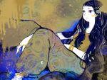 1girl abstract black_hair feet_out_of_frame green_pants green_shirt jewelry long_hair multicolored_hair original pants print_pants procreate_(medium) ring shirt signature solo streaked_hair tomidoron very_long_hair