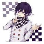 1boy :d artist_name bangs blush checkered checkered_scarf commentary_request cropped_torso danganronpa_(series) danganronpa_v3:_killing_harmony double-breasted grey_jacket hair_between_eyes hands_up index_finger_raised jacket long_sleeves looking_at_viewer lower_teeth male_focus open_mouth ouma_kokichi purple_hair scarf short_hair smile solo straitjacket upper_body violet_eyes y0e0k