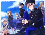 3boys 3girls absurdres apron beret black_headwear blue_eyes blue_hair blue_legwear braid captain_nemo_(fate/grand_order) clouds cloudy_sky fate/grand_order fate_(series) fingers_together glasses hat highres huge_filesize long_hair long_sleeves looking_at_viewer looking_to_the_side military military_uniform multiple_boys multiple_girls naval_uniform nurse_cap outdoors platinum_blonde_hair short_hair shorts single_braid skirt sky turban uniform white_headwear