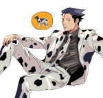 1boy animal_print belt black_hair black_shirt cow_print feet_out_of_frame green_(grimy) gyakuten_saiban hand_on_own_knee highres invisible_chair jacket knee_up male_focus naruhodou_ryuuichi necktie print_neckwear shirt simple_background sitting solo spiky_hair spoken_animal white_background