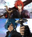 2boys bangs black_gloves black_jacket blue_eyes blue_hair cosplay dante_(devil_may_cry) dante_(devil_may_cry)_(cosplay) dark_skin dark_skinned_male devil_may_cry devil_may_cry_5 diluc_(genshin_impact) english_commentary fingerless_gloves genshin_impact gloves hair_between_eyes highres holding holding_sword holding_weapon jacket jewelry kaeya_(genshin_impact) long_hair male_focus multiple_boys over_shoulder parody red_eyes red_jacket redhead single_earring smile sword uglykao vergil vergil_(cosplay) watermark weapon weapon_over_shoulder