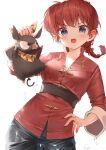 1girl chinese_clothes grey_eyes hand_on_hip hibiki_ryouga highres holding looking_at_viewer pig ponytail ranma-chan ranma_1/2 redhead ryota_(ry_o_ta) scarf wet white_background