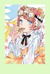 1girl black_ribbon blue_eyes border bright_pupils brown_hair candy candy_cane candy_girl_(identity_v) candy_wrapper dress eating food frilled_dress frills goggles goggles_on_head green_border hat highres identity_v ieiieiiei lollipop long_sleeves looking_at_viewer neck_ribbon official_alternate_costume puffy_sleeves ribbon short_hair sitting solo swirl_lollipop symbol-shaped_pupils tracy_reznik white_pupils