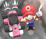 1girl aki_rosenthal blonde_hair blue_eyes cosplay electriccross fake_facial_hair fake_mustache gloves go_kart hand_on_hip hat highres hololive long_hair mario mario_(cosplay) mario_(series) mario_kart one_eye_closed open_mouth overalls red_headwear red_shirt shiny shirt solo twintails virtual_youtuber white_gloves