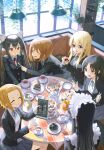 6+girls :d ^_^ akiyama_mio animal_ear_fluff animal_ears apron bag bangs bangs_pinned_back black_hair black_hairband black_jacket blazer blonde_hair blue_eyes blue_neckwear blue_ribbon blush brown_eyes brown_hair cafe cat_ears ceiling_light cherry closed_eyes cookie cup day eyebrows_visible_through_hair fake_animal_ears feeding food forehead fork frilled_apron frills fruit grey_skirt hair_ornament hairband hairclip highres hirasawa_yui holding holding_cup holding_fork holding_menu huskk index_finger_raised indoors jacket k-on! kotobuki_tsumugi leaning_forward long_hair long_sleeves macaron maid_headdress menu miniskirt multiple_girls nakano_azusa neck_ribbon open_mouth parted_bangs pie_slice plant plate pointing potted_plant red_eyes red_neckwear red_ribbon ribbon sakuragaoka_high_school_uniform school_bag school_uniform shelf short_hair sidelocks sitting skirt smile straight_hair strawberry sweets table tablecloth tainaka_ritsu tea teacup teapot tiered_tray twintails waitress white_apron window yellow_hairband