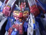 artist_name autobot blue_eyes english_commentary highres kneeling looking_to_the_side mecha mechanical_wings no_humans science_fiction solo star_saber_(transformers) theo_aud transformers transformers_victory watermark wings