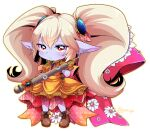1girl blue_skin blush boots brown_eyes closed_mouth colored_skin commentary_request dress eyebrows_visible_through_hair gloves hair_between_eyes holding holding_weapon league_of_legends long_hair looking_at_viewer otani_(kota12ro08) pointy_ears poppy simple_background solo twitter_username unmoving_pattern weapon white_background yordle