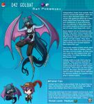 1boy 1girl absurdly_long_hair animal_ears artist_name bat_ears bat_girl bat_wings blue_hair blue_skin breasts character_name colored_skin covered_mouth extra_mouth eyebrows_visible_through_hair gen_1_pokemon golbat hat highres kinkymation long_hair long_tongue monster_girl personification poke_ball pokemon profile purple_hair saliva scarf tongue very_long_hair winged_arms wings