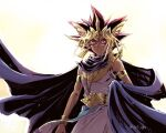 1boy armlet artist_name atem black_cloak black_hair blonde_hair bracer cloak closed_mouth commentary_request dark_skin dark_skinned_male earrings egyptian from_below jewelry male_focus millennium_puzzle multicolored_hair shiny solo soya_(sys_ygo) spiky_hair watermark yu-gi-oh! yu-gi-oh!_duel_monsters
