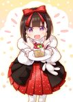 1girl :d bangs bare_shoulders black_hair blush bow commentary_request dress eyebrows_behind_hair food food_in_mouth fork fruit girls_frontline hair_bow highres holding holding_fork holding_plate looking_at_viewer m99_(girls_frontline) open_mouth pantyhose plate pleated_dress red_bow red_dress sansei_rain smile solo standing strapless strapless_dress strawberry violet_eyes white_legwear