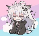 animal_costume animal_ear_fluff animal_ears animal_hood arknights bear_costume bear_hood chibi grey_eyes grey_eyes hair_ornament hairclip hood lappland_(arknights) long_hair marshmallow_mille scar scar_across_eye silver_hair smile tail teeth wolf_ears wolf_girl wolf_tail