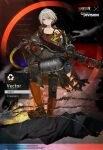 1girl artist_request bad_link boots cleaners crossover damaged english_text firefighter flamethrower gas_tank girls_frontline gloves grey_hair gun hellfire_vector_(girls_frontline) knee_boots kriss_vector official_alternate_costume official_art rogue_division_agent submachine_gun tom_clancy's_the_division torn_clothes trigger_discipline vector_(girls_frontline) weapon yellow_eyes