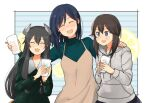 3girls ^_^ ^o^ annin_musou apron black_hair blue_hair blush closed_eyes collarbone cup drinking_glass eyebrows_visible_through_hair green_shirt grey_eyes grey_hoodie hair_between_eyes hayasui_(kantai_collection) headgear holding holding_cup hood hoodie i-47_(kantai_collection) kantai_collection long_hair long_sleeves low-tied_long_hair multiple_girls open_mouth shirt short_hair smile souryuu_(kantai_collection)