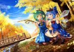 +_+ 2girls :o acorn animal arm_up ascot autumn_leaves bangs black_footwear blue_bow blue_dress blue_hair blue_skirt blue_sky blue_vest blush bobby_socks bow bowtie bridge chipmunk cirno clouds collared_shirt commentary commission daiyousei dappled_sunlight day dress english_commentary eyebrows_visible_through_hair fairy_wings frilled_shirt_collar frills grass green_hair hair_bow hand_on_own_knee hands_up head_wreath ice ice_wings kapuchii kneeling leaf lens_flare long_dress looking_at_another mary_janes multiple_girls mushroom nature open_hands open_mouth outdoors outstretched_hand pinafore_dress pinecone puffy_short_sleeves puffy_sleeves railing red_bow rock scenery shirt shoes short_hair short_sleeves side_ponytail skirt skirt_set sky smile socks sparkle sparkling_eyes squatting squirrel stream sunlight swept_bangs tareme touhou transparent_wings tree tree_shade under_tree undershirt vest water white_legwear white_shirt wing_collar wings wreath yellow_bow