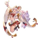 :d animal animal_ears arms_up bangs black_legwear bow breasts crop_top eyebrows eyebrows_visible_through_hair granblue_fantasy headband holding holding_animal japanese_clothes jumping kimono kneehighs legs_up loafers long_sleeves looking_at_viewer miniskirt mouse mouse_ears navel official_art open_mouth red_bow red_eyes shoes silver_hair skirt small_breasts smile teeth thigh_strap thighs tongue vikala_(granblue_fantasy)