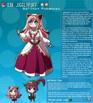 1boy 1girl animal_ears artist_name blue_eyes breasts character_name curly_hair dress english_commentary english_text eyebrows_visible_through_hair fingernails gen_1_pokemon hat highres jigglypuff kinkymation large_breasts pink_hair poke_ball pokemon profile purple_hair veil