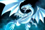 artist_name blue-eyes_white_dragon blue_eyes claws commentary_request dragon glowing looking_to_the_side no_humans open_mouth sharp_teeth solo soya_(sys_ygo) teeth tongue watermark yu-gi-oh!