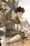1boy bandages bang black_hair closed_eyes diarmuid_ua_duibhne_(fate/grand_order) elle_shengxuan_shi fate/grand_order fate_(series) finger_gun green_shirt highres leaf male_focus muscular polearm shirt sitting spear tree weapon white_wolf