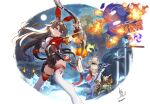3girls amber_(genshin_impact) bag bare_shoulders belt blonde_hair boots bow_(weapon) breasts cape capelet closed_mouth dress flower forest frown furrowed_eyebrows genshin_impact gloves goggles goggles_on_head grass hair_between_eyes hair_flower hair_ornament hair_ribbon halo highres holding holding_bow_(weapon) holding_sword holding_weapon ice long_hair long_sleeves lumine_(genshin_impact) matsumura_(awamorizennseiki) moon multiple_girls nature night night_sky on_person open_mouth paimon_(genshin_impact) red_ribbon ribbon short_hair shorts sky star_(sky) starry_sky sword thigh-highs thigh_boots thighs torch weapon white_dress white_hair white_legwear yellow_eyes