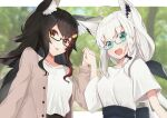 2girls absurdres ahoge animal_ear_fluff animal_ears bangs beige_jacket black_hair blurry blurry_background borumete bow braid breasts commentary_request earrings eyebrows_visible_through_hair fox_ears fox_girl glasses green_eyes hair_between_eyes hair_bow hair_ornament hairclip highres holding_hands hololive jacket jewelry long_hair looking_at_viewer multicolored_hair multiple_girls ookami_mio open_clothes open_jacket open_mouth redhead shirakami_fubuki shirt short_sleeves sidelocks single_braid small_breasts tongue tongue_out two-tone_hair virtual_youtuber white_hair white_shirt wolf_ears wolf_girl yellow_eyes