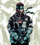 1boy beard black_jacket brown_hair drip_(meme) facial_hair green_headband hands_together headband jacket looking_at_viewer male_focus meme metal_gear_(series) metal_gear_solid scowl solid_snake solo supreme teoft zoom_layer