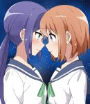 2girls aqua_eyes bangs blue_hair blue_sailor_collar closed_mouth commentary_request eyebrows_visible_through_hair face-to-face forehead-to-forehead green_neckwear highres koisuru_asteroid konohata_mira long_hair long_sleeves manaka_ao multiple_girls night night_sky orange_hair riyo_(aokiwazumi) sailor_collar school_uniform serafuku shirt short_hair sidelocks sky smile star_(sky) starry_background starry_sky twintails upper_body violet_eyes white_shirt yuri