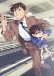2boys bangs belt black_neckwear blazer blue_eyes blue_jacket blurry blurry_background bow bowtie brown_footwear brown_hair brown_jacket brown_pants brown_suit carrying child clenched_teeth collared_shirt commentary_request edogawa_conan glasses grey_shorts hand_up jacket k_gear_labo long_sleeves looking_back looking_to_the_side male_focus meitantei_conan motion_blur multiple_boys necktie one_eye_closed open_clothes open_jacket pants parted_lips red_bow red_neckwear running shirt shoes short_hair shorts sneakers socks sweatdrop takagi_wataru_(meitantei_conan) teeth watch watch white_legwear white_shirt