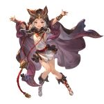 1girl :d animal_ears arm_guards arms_up bridal_gauntlets cape cloak cross-laced_footwear dragon ears_through_headwear erune eyebrows full_body granblue_fantasy hood hooded_cloak long_hair looking_at_viewer official_art open_mouth pelvic_curtain red_eyes scathacha_(granblue_fantasy) skirt sleeveless smile solo teeth thighs tongue transparent_background white_hair