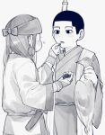 1boy 1girl ainu ainu_clothes animal asirpa bandana berries black_eyes black_hair blush buzz_cut couple dead_animal ear_piercing earrings feeding food from_side golden_kamuy greyscale gun hetero highres holding holding_animal holding_food japanese_clothes jewelry kimono lemonade2333 long_hair long_sleeves looking_at_another monochrome ogata_hyakunosuke open_mouth over_shoulder piercing rifle sheath short_hair simple_background standing upper_body very_short_hair weapon weapon_over_shoulder white_background wide_sleeves younger