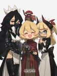 1other 3girls :d absurdres arm_armor armor birthday black_eyes black_hair black_legwear blonde_hair blue_eyes bow cape centurii-chan closed_eyes english_commentary english_text executioner_maid_(centuriic) flareze_(porforever) glasses highres horns long_sleeves looking_at_viewer maid_headdress mask medium_hair mouth_mask multiple_girls open_mouth original pelvic_curtain pointy_ears porforever red_cape sheath sheathed simple_background skirt smile sword thigh-highs weapon white_background