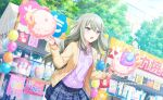 blush closed_eyes grey_hair kusanagi_nene long_hair project_sekai shirt sweets