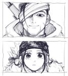 1boy 1girl ainu ainu_clothes arisaka arrow_(projectile) asirpa bandaged_head bandages bandana black_eyes black_hair bolt_action cape close-up closed_mouth collared_jacket eye_contact facial_hair framed fur_cape golden_kamuy greyscale gun hair_strand highres hood hood_down imperial_japanese_army lemonade2333 long_hair looking_at_another looking_at_viewer looking_down looking_up military military_uniform monochrome ogata_hyakunosuke one_eye_covered over_shoulder parted_lips quiver rifle scar scar_on_cheek scar_on_face short_hair sidelocks simple_background sketch smile stubble uniform upper_body weapon weapon_on_back weapon_over_shoulder white_background white_cape