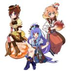 3girls alternate_costume apple blue_hair blue_skirt blush bow chibi flower food freyja_wion fruit green_eyes hair_behind_ear hair_between_eyes hair_bow hair_bun hair_flower hair_ornament hat heart heart_hair_ornament highres holding holding_food holding_fruit kaname_buccaneer long_hair macross macross_delta mikumo_guynemer minigirl multicolored_hair multiple_girls open_mouth orange orange_hair orange_slice osakana_(sasawo9090) purple_flower purple_hair purple_rose red_bow redhead rose short_hair sitting skirt smile streaked_hair symbol_commentary very_long_hair violet_eyes white_background