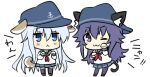 2girls :3 akatsuki_(kantai_collection) anchor_symbol animal_ears black_headwear black_legwear blue_eyes blue_sailor_collar blue_skirt cat_ears cat_tail chibi commentary_request dog_ears dog_tail flat_cap hat hibiki_(kantai_collection) hizuki_yayoi kantai_collection long_hair looking_at_viewer multiple_girls one_eye_closed pantyhose paw_pose pleated_skirt purple_hair sailor_collar school_uniform serafuku silver_hair simple_background skirt standing tail thigh-highs violet_eyes white_background