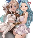 2girls blonde_hair blue_eyes breasts choker commission dark_skin dark_skinned_female dress forehead granblue_fantasy green_eyes green_hair hair_ornament high_collar highres iiros io_euclase long_hair lyria_(granblue_fantasy) multiple_girls open_mouth parted_hair small_breasts spread_legs thighlet unitard upper_teeth vambraces white_choker white_dress