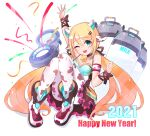 1girl :d absurdres animal_print aqua_eyes bare_shoulders bell blonde_hair breasts cawang chinese_zodiac cow_girl cow_print cowbell english_text full_body happy_new_year highres long_hair looking_at_viewer milk_churn new_year one_eye_closed open_mouth original pantyhose shoes simple_background sitting smile twintails very_long_hair waving white_background year_of_the_ox
