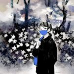 1girl bag bangs black_eyes black_hair black_shirt blue_bag blue_mask collared_shirt flower highres mask medium_hair mouth_mask original plant ponytail procreate_(medium) shirt shoulder_bag signature solo surgical_mask tomidoron upper_body white_flower