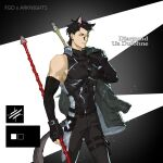 1boy alternate_costume animal_ears arknights asymmetrical_sleeves bang black_hair black_legwear cat_boy cat_ears cat_tail diarmuid_ua_duibhne_(fate/grand_order) elle_shengxuan_shi fate/grand_order fate_(series) finger_gun gae_buidhe gae_dearg gloves highres holding holding_weapon jacket_over_shoulder lancer_(fate/zero) male_focus mole mole_under_eye orange_eyes polearm shirt single_bare_shoulder spear tail tight_shirt upper_body weapon wolf_ears