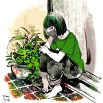 1girl bangs barefoot black_hair black_pants green_shirt grey_mask highres leaf mask mouth_mask original pants plant potted_plant profile shadow shirt short_hair short_sleeves signature sitting solo tomidoron