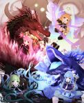 4girls absurdres blonde_hair blue_hair bow character_request chibi disgaea dragon dress fire flying full_body green_hair hair_bow highres holding holding_staff ice kiyotaka magic multiple_girls pink_hair pointy_ears sitting staff standing whale wings