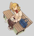 1girl bag bag_removed bangs bench blonde_hair book bow bowtie breasts brown_legwear brown_shirt brown_skirt closed_eyes drill_hair from_above full_body grey_background hair_ornament hairpin head_tilt holding holding_book juliet_sleeves kyubey long_hair long_sleeves mahou_shoujo_madoka_magica mary_janes medium_breasts mitakihara_school_uniform on_bench open_book pantyhose park_bench parted_lips pigeon-toed plaid plaid_skirt puffy_sleeves red_bow red_neckwear school_bag school_uniform shima_(landsuzume) shirt shoes simple_background sitting skirt sleeping sleeping_upright solo tomoe_mami twin_drills twintails white_footwear