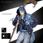 1boy animal_ears arknights bangs blue_hair blue_jacket blue_pants cu_chulainn_(fate)_(all) elle_shengxuan_shi fate/grand_order fate_(series) gloves hand_in_pocket highres holding holding_weapon jacket long_hair looking_at_viewer male_focus pants red_eyes staff tail upper_body weapon wolf_ears wolf_tail