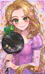 1girl animal aqua_flower blonde_hair breasts chameleon closed_mouth collarbone colorful copyright_name cross-laced_clothes dress earrings emoji eyelashes facepaint floating_hair floral_print flower flower_earrings frying_pan green_eyes heart highres holding holding_frying_pan jewelry juliet_sleeves lace-trimmed_dress lace_trim lantern light_blush long_hair long_sleeves looking_at_viewer micha multicolored multicolored_background orange_flower paper_lantern pascal_(tangled) puffy_sleeves purple_background purple_dress purple_flower rapunzel_(disney) red_flower shiny shiny_hair simple_background small_breasts smile solo sparkling_eyes striped striped_sleeves tangled tareme very_long_hair white_flower