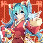 1girl aqua_eyes aqua_hair artist_name checkered checkered_background china_dress chinese_clothes chinese_new_year commentary coronavirus_pandemic dress fur-trimmed_dress fur-trimmed_sleeves fur_trim hair_ornament hand_up hatsune_miku holding holding_mask homura_0205 long_hair looking_at_viewer mask mask_removed new_year pom_pom_(clothes) red_background red_dress smile solo twintails upper_body very_long_hair vocaloid